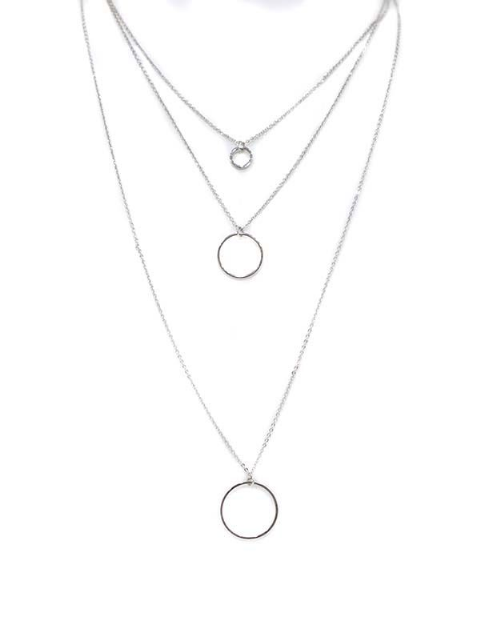 CALLIA SILVER 3 ROW CIRCLE NECKLACE